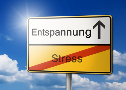 Entspannung statt Stress Schild